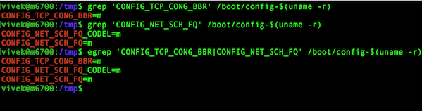 Fig.01:  Make sure that your Linux kernel has TCP BBR option setup